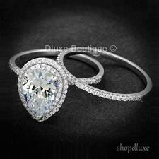 3.50 CT Halo 梨形 AAA CZ .925 純銀女婚禮戒指套裝