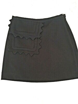 NEW Victoria Beckham Target Black Twill Skirt w// Scallop Trim Pocket Plus Sz 3x