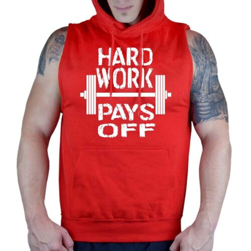 Men/'s Hard Work Pays Off Red Sleeveless Hoodie Workout Gym Fitness Muscle Flex