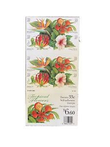US TROPICAL FLOWERS .33 X 20 POSTAGE STAMPS BOOKLET