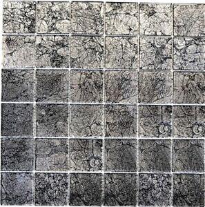 Dettagli su Mosaico piastrella vetro nero/grigio muro cucina bagno:  126-CM4BL22_b | 1 foglio