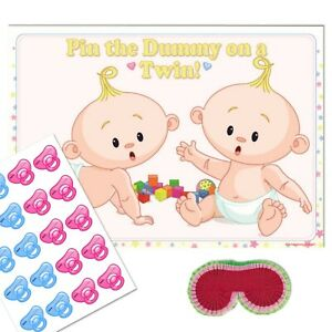 Details about TWIN BABY SHOWER GAME - Pin the Dummy Pacifier Blindfold  Unisex Neutral 10 - 40