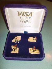 LOT OF 4 VINTAGE 1992 VISA ALBERTVILLE FRANCE WINTER OLYMPIC PINS IN VELVET CASE