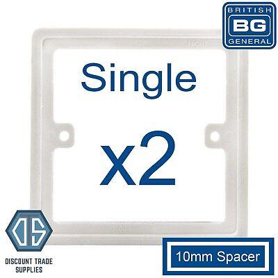 1x BG Nexus White 2 Gang Double 10mm Depth Spacer Frame Rectangle Back Box Plate