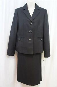"""Evan Picone Suit Sz 6 Black Textured """"Classic Time"""" Business 2 PC Skirt Suit"""