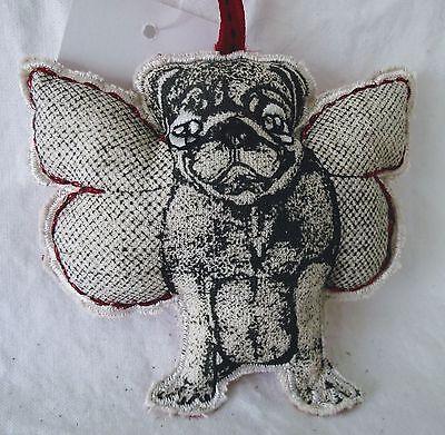 Pug Dog Ornament Christmas Plush Angel Wings Fabric Red Black Holiday Memory NEW
