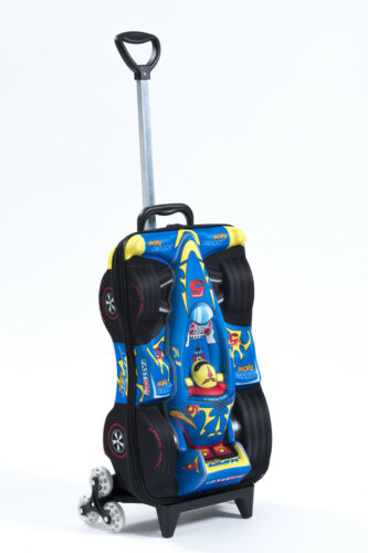 Kid's Trolley Roller Bag F1 Car 3D Rolling Suitcase Luggage Backpack Alternative
