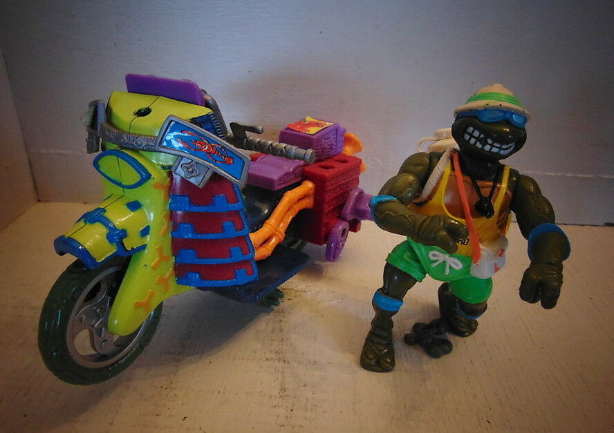 Teenage Mutant Ninja Turtles Action Figure + moto – 1992 Mirage Studios