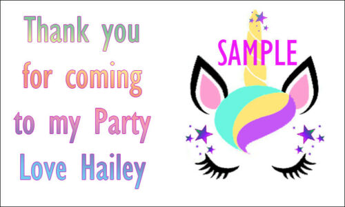 UNICORN inspired Personalised stickers party bags sweet cone Labels
