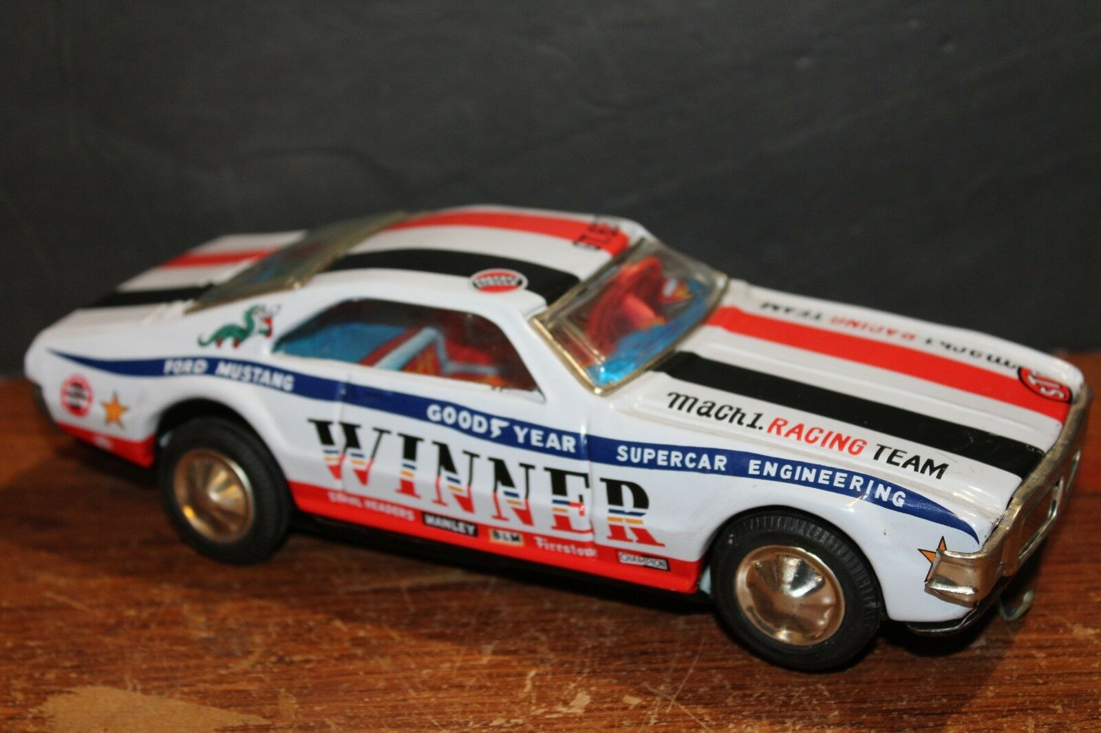 VERY NICE VINTAGE TIN LITHO BATTERY OPERATED FORD MUSTANG MACH 1 with BOX