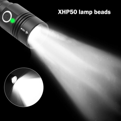 Flashlight Bright XHP50.2 LED Torch USB Rechargeable Zoomable LED Light Outd/_ YJ