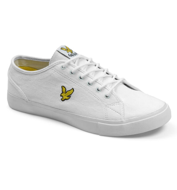 3a777006046b Lyle   Scott Teviot Twill Men s Canvas Plimsoll Trainers 626 White 9 ...