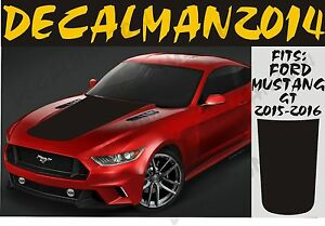 Image Is Loading Solid Blackout Vinyl Hood Decal Fits Ford Mustang