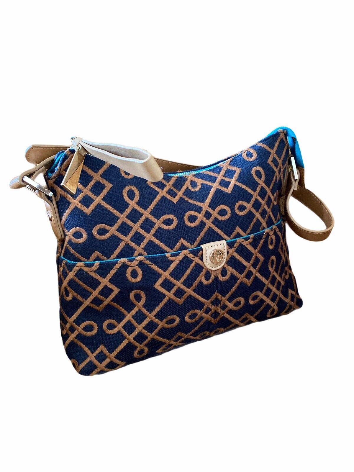Spartina Shoulder Bag Leather Linen Black