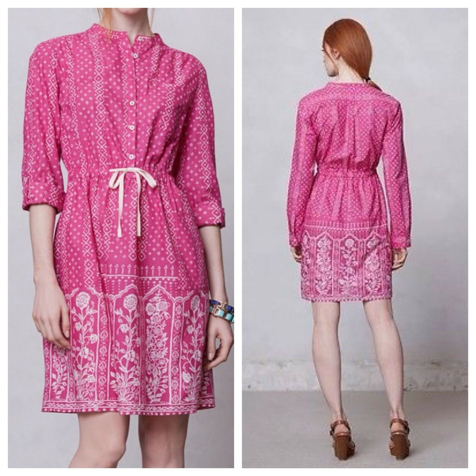 Anthropologie Meadow Rue Anilia Shirt Dress 4 Pink