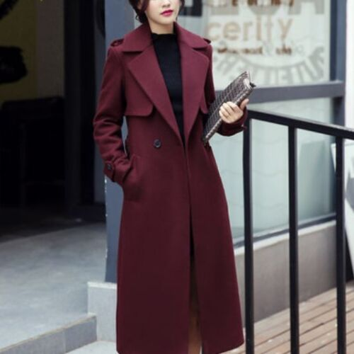 Womens Long Loose Coat Jacket Trench Windbreaker Outwear Pea Fashion coat A167