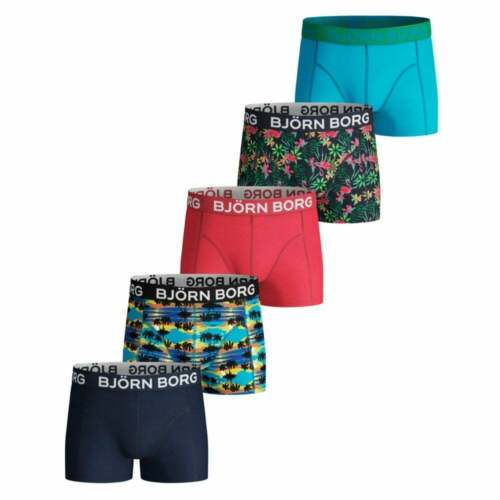 Bjorn Borg 5-Pack Hawaii Prints /& Solid Boys Boxer Trunks Multi