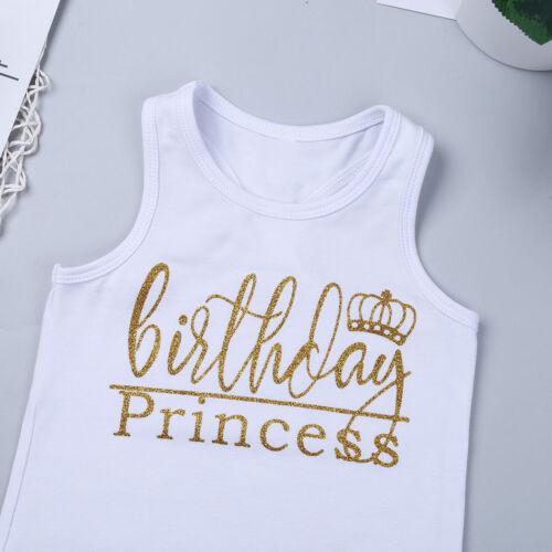 Kids Baby Girls Top T-shirt+Tutu Polka Dot Skirt Dress Outfit 2Pcs Birthday Set