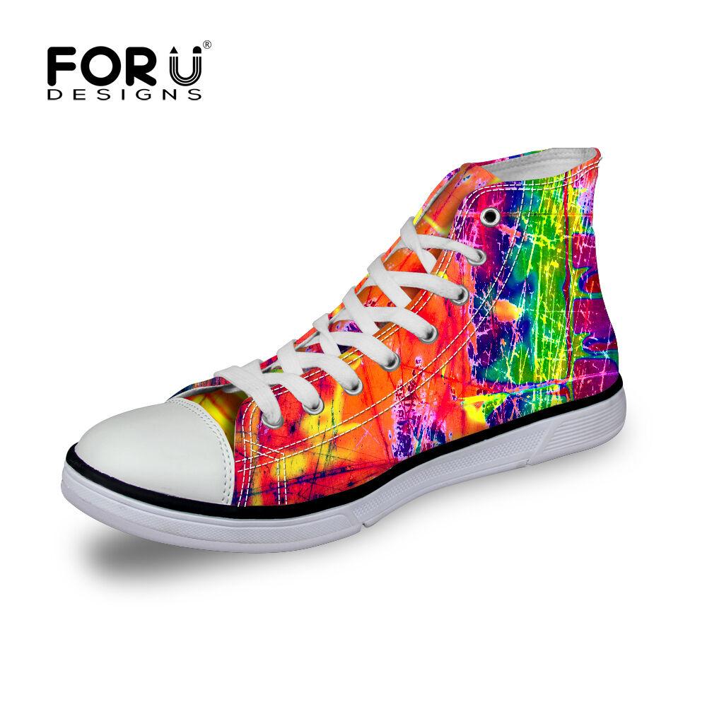 Mens Canvas High Top Lace Up Trainers Sports Shoes Unique Color Pumps Footwear