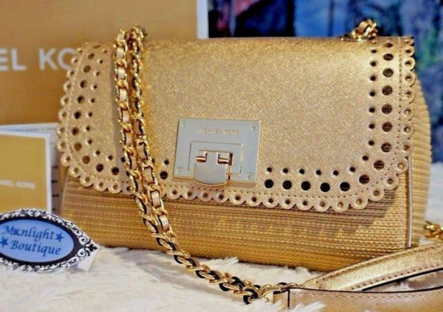 NWT Michael Kors VIOLET VIVIAN Shoulder Flap Leather Bag NATURAL PALE GOLD   348 61b35fae87d4c