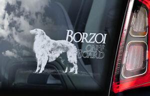 Borzoi-On-Board-Auto-Finestrino-Adesivo-Russo-Wolfhound-Cane-Firmare-V03