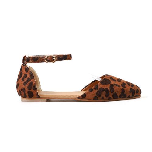 Women/'s Casusal Flat Pumps Ankle Strap Ballet Ballerina Dolly Slip On Shoes Size
