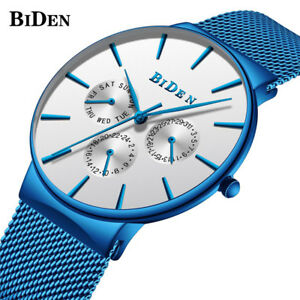 BIDEN-Men-Japan-Quartz-Mesh-Stainless-Steel-Band-Calendar-Wrist-Watch-Waterproof