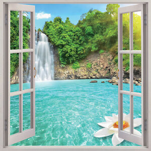 Waterfall 3d window view removable wall art sticker vinyl for Decor mural xxl