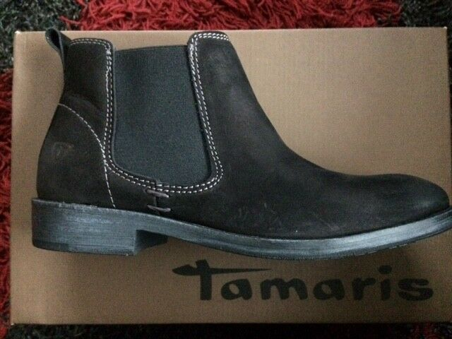 Tamaris Black  Nubuck Leather Classic Chelsea Ankle Boots-Brand New Boxed