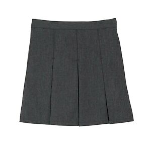 Girls Tru Form School Skirt Box Pleat Elastic Uniform Black Grey Navy All Sizes