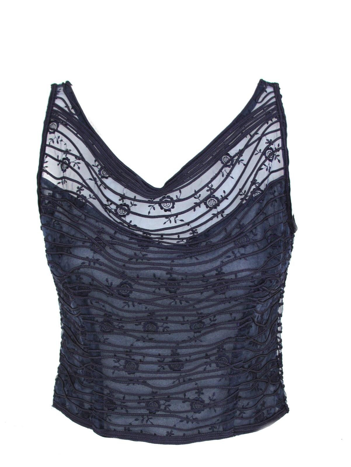 LA PERLA Italy Ladies Sheer Navy Blue Black Tie Formal Sleeveless Top Elegant 46