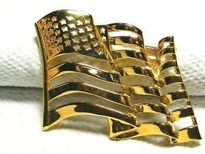 Vtg-Gold-Tone-American-Flag-Brooch