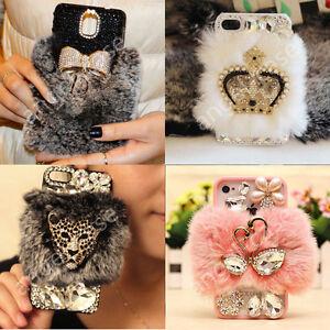 Luxury-Bling-Rhinestone-Diamond-Crystal-Furry-Rabbit-Fur-Back-Phone-Case-Cover