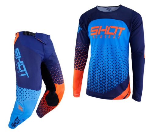 NEW 2019 SHOT DELTA PANT /& JERSEY MOTOCROSS ENDURO MX COMBO KIT BLUE NEON ORANGE