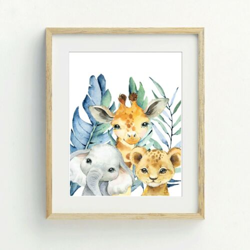 Safari Animals Print Safari Nursery Print,Animal wall print,Kids wall print