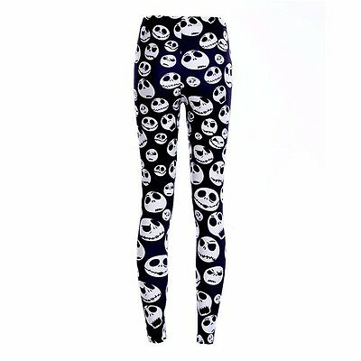 NIGHTMARE BEFORE CHRISTMAS B//W Polyester Spandex Leggings OSFM Adults