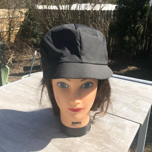 Vintage Women's Baker Boy Style Hat Black Rain Hat