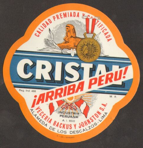 Peru Label Beer Cerveza Cristal Arriba Peru orange