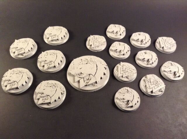 Custom lot 3d printed Space Wolves bases 32mm(10),40mm(5),60mm(1) Warhammer  40k