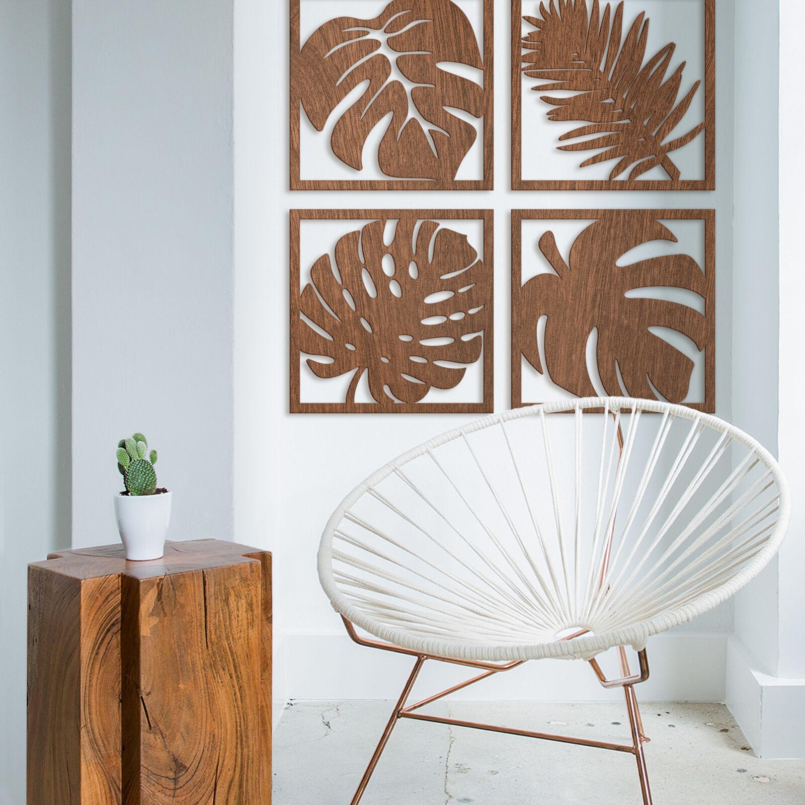 Holzkunst  Mahagoni  - Blätter Tropical Set HOLZDEKO natur stabil und leicht