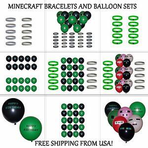Minecraft Bracelets Creeper ~ Diamond and Happy Birthday Balloons, Party Favors