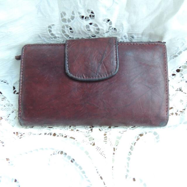 Vintage Womens Brown Leather Organizer Wallet