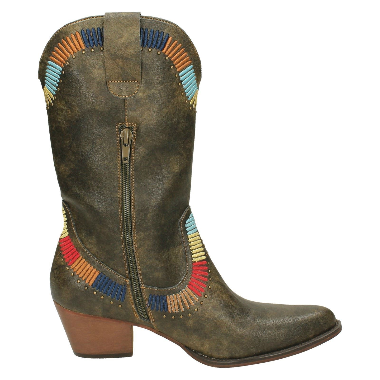 F5R0938- Ladies Down To Earth Cowboy Style Boot- Black & & & Brown 68312a