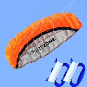 ORANGE-NEW-1-8m-Dual-Line-Parafoil-Parachute-Stunt-Sport-Beach-Outdoor-Toys-kite