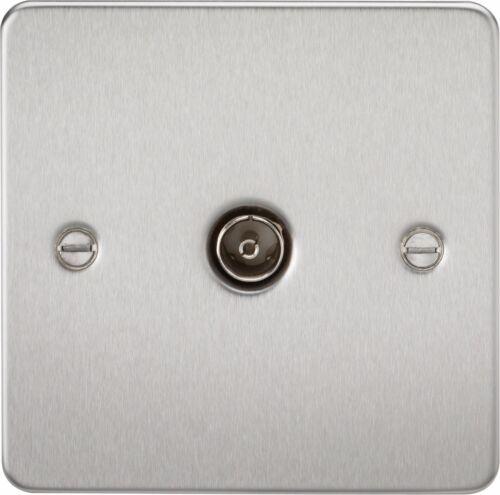 Knightsbridge plaque plane 1 gang tv outlet socket non isolé coaxial co-axial