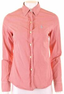 JACK-WILLS-Womens-Shirt-Size-10-Small-Red-Check-Cotton-Classic-Fit-AZ11