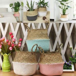Panier-de-rangement-rotin-paille-osier-pliant-fleur-pot-planteur-jardin