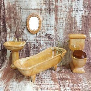 1-12-Puppenhaus-Miniatur-gelb-Porzellan-Badezimmer-Set-WC-Waschbecken-Badewa-Pw