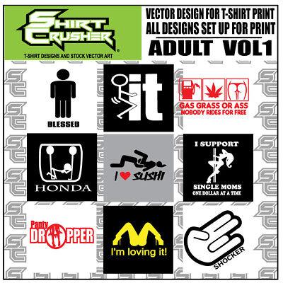 Adult Vol 1 Funny Adult T Shirt Designs Print Ready