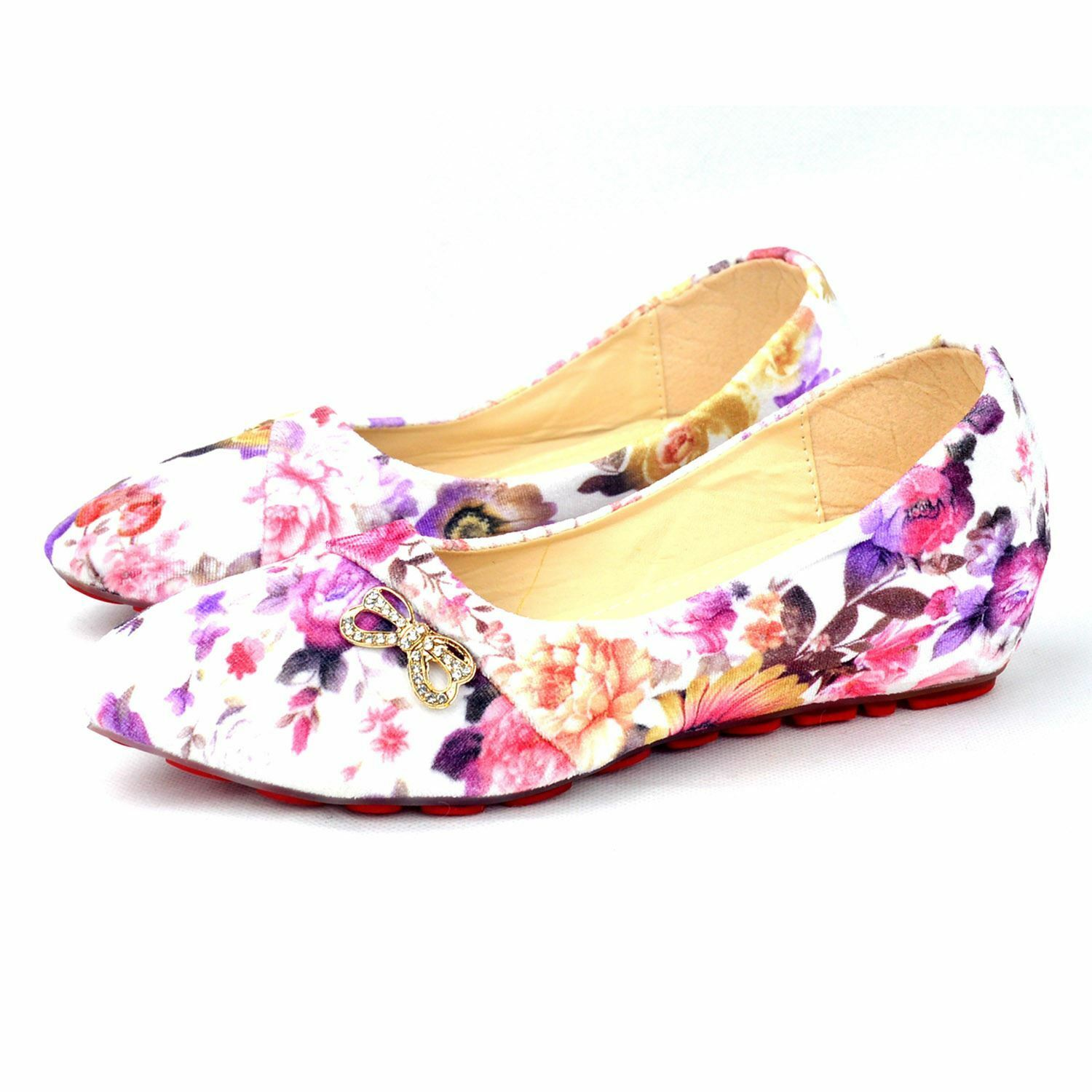 Tattopani Girl's Colorful Slip-On Ballerina Comfort flat Shoes with Flower Print